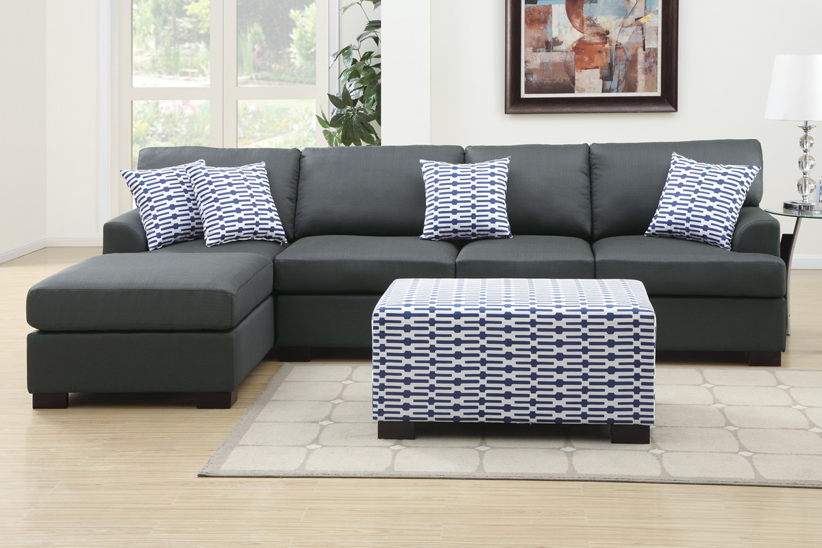 Sectional sofa f7990 f7992 bb 39 s furniture store for Black and grey sofa