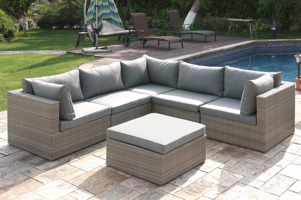 Home/Modular Patio Sets/Tan Wicker / Grey Cushions