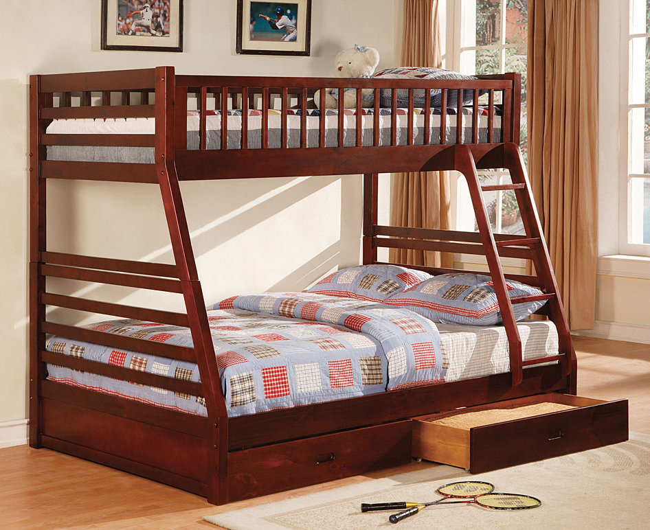 Twin full bunk bed cm bk601ch bb 39 s furniture store for Litera matrimonial e individual coppel