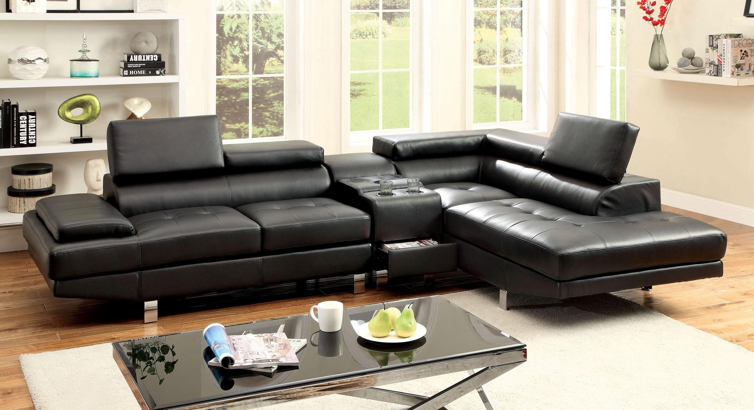 Sectional Sofa W Speaker Console Cm6833bk Bb S