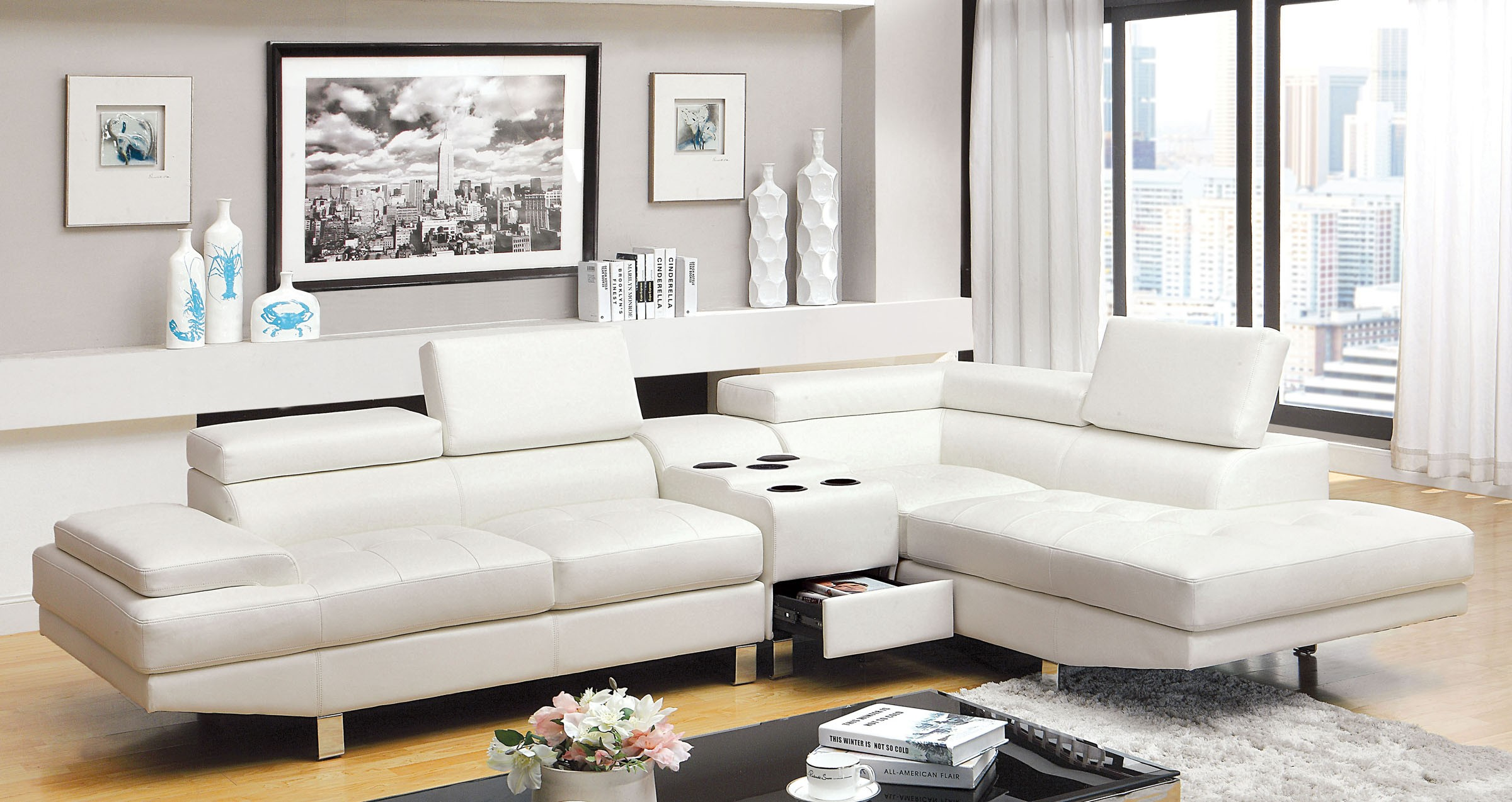 Sectional Sofa CM6833WH