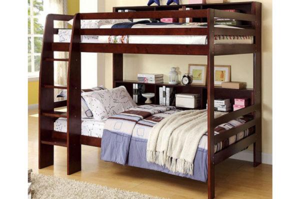 espresso bookcase bed